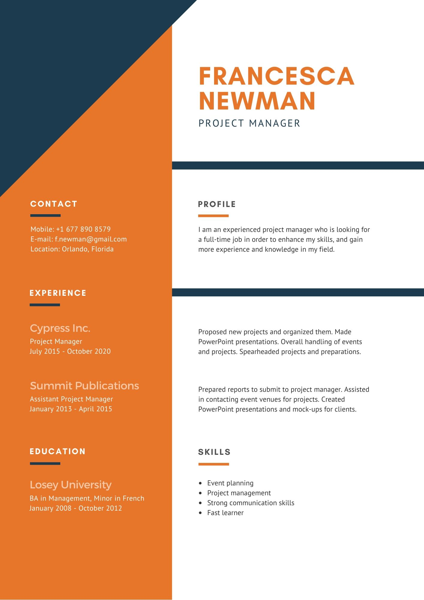 writing a resume for job