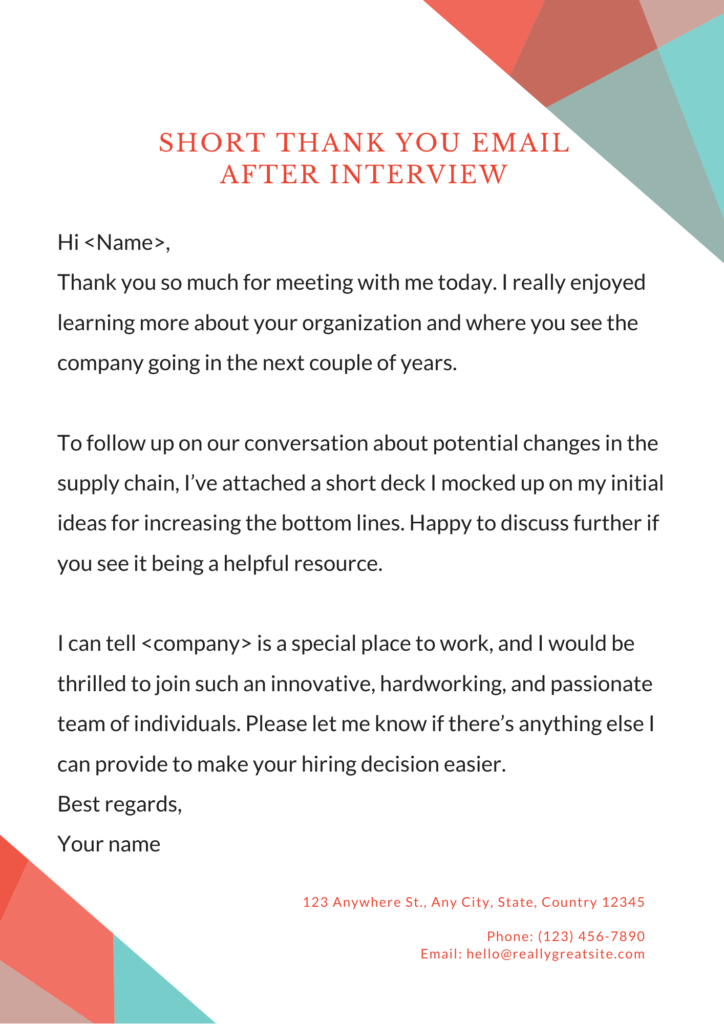 after interview thank you email samples
