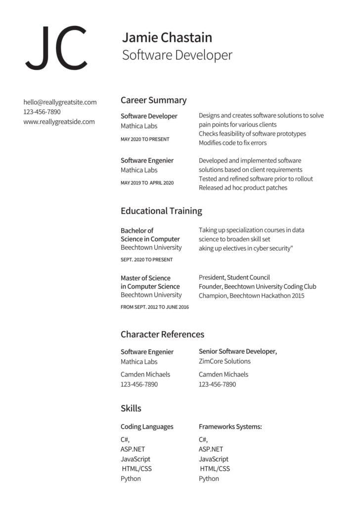 biodata format for job