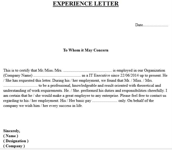 Experience Certificate Format Download Free Experience Letter Samples