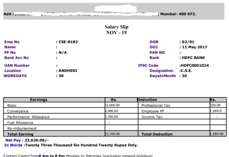 Salary Slip Format in Excel With Formula | Free Download PaySlip Word, PDF