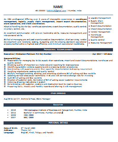 logistics and supply chain resume template