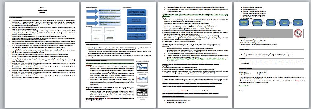 simple resume format word