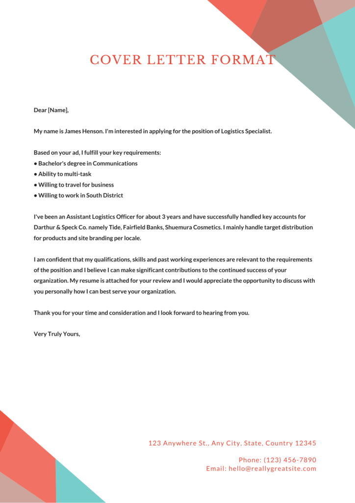 Cover Letter Format Examples Templates