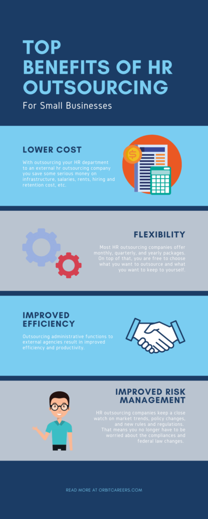 the image describes the top benefits of hr outsourcing