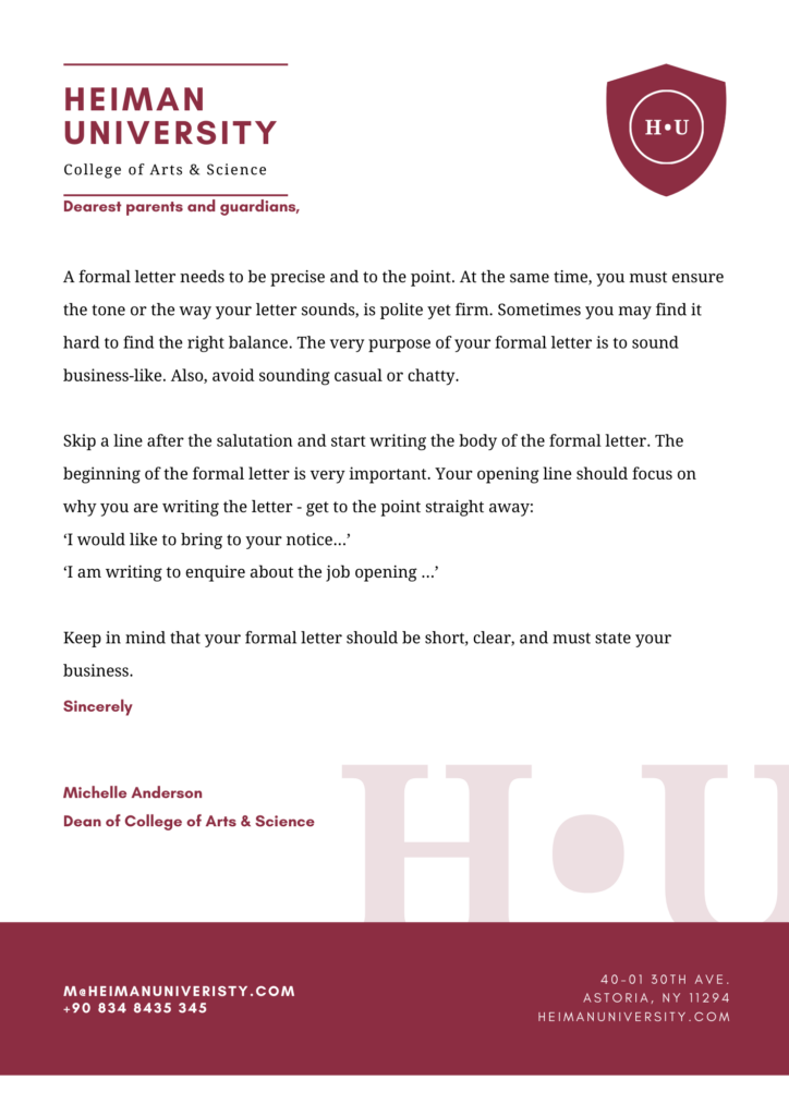 formal letter format, how to write a formal letter